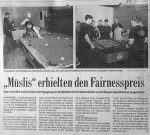 Ehrenpreis für die Müslis - three-4-five Turnier - BZ 31.1.2001