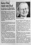 Guter Rat- Interview mit C. Dambacher zum Fahrradmarkt in Landwasser - BZ 6.5.2000