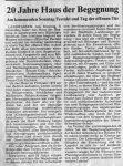 20 Jahre Haus der Begegnung - Badische Zeitung 2.12.1992