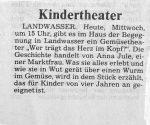 Ankündigung Kindertheater Badische Zeitung 13.11.1991