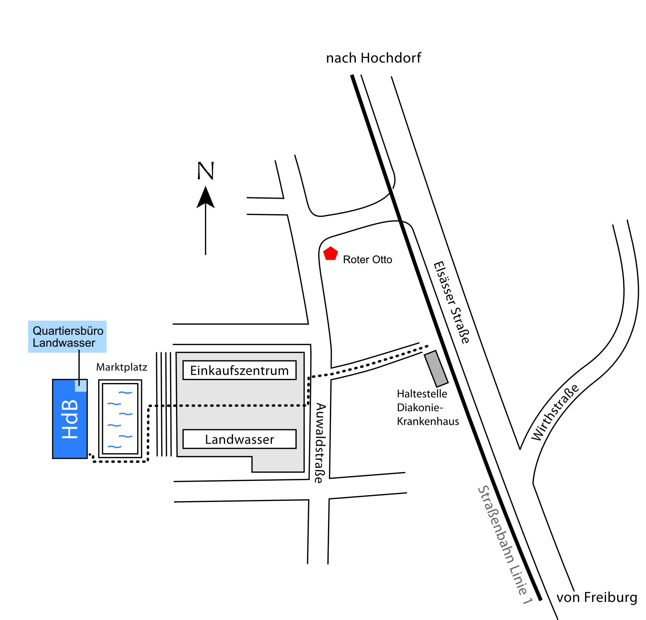 Lageplan Haus der Begegnung und Quartiersbüro Landwasser 2020